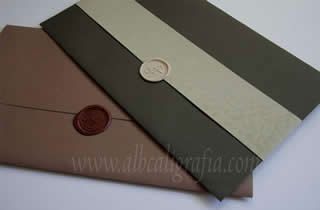 Wedding Invitations in autumn colors with wax