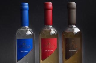 3 wax dipping bottles of CORTICA tequila, the color the wax match whit the color of the label