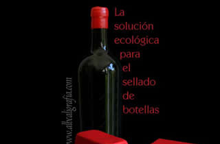 Bottle with red sealing wax seal on top and text about solutios for green sealing of bottles
