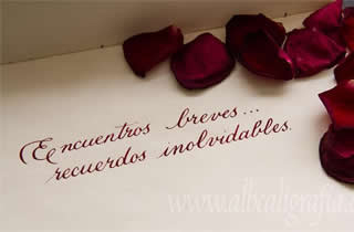 Calligraphic text with rose petals Brief encounters unforgettable memories