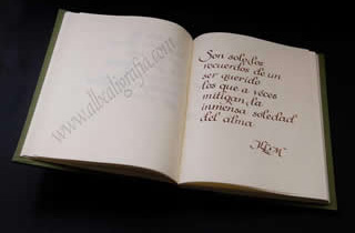 Text of Serrat on the memory of Lucia written in calligraphy