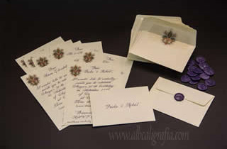 50 Aniversary invitations written in purple calligraphy and sealed  with purple medallions