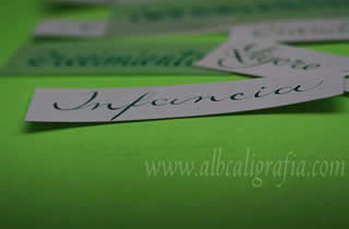 Word childhood written in calligraphy on a green background