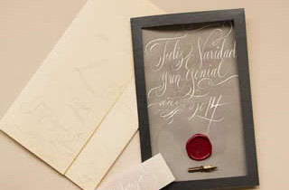 Christmas card with sealing wax stamp and pen calligraphy