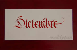 Word December in gothic calligraphic style