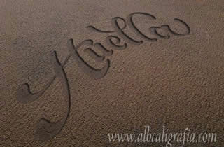 Word  Footprint marked in the sand