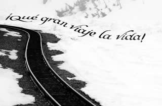 Railroad tracks in the snow with calligraphic text  What a great trip is life