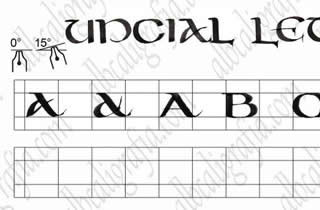 Template to practice uncial calligraphy