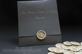 Silver wedding invitation and ivory wax seal sticker