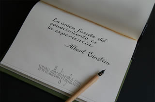 Text in calligraphy: The only source of knowledge is experience. Albert Einstein