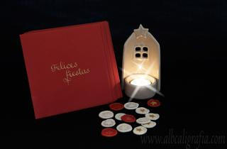 Christmas card, candle and sealing wax medallions