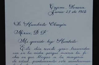 Transcript of the first part of the letter from General Alvaro Obregon to his son Humberto