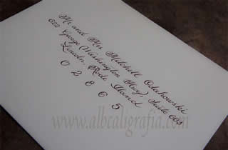 Sample of calligraphic letterin in an envelope