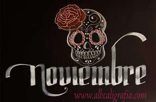 Word november  decorated with a typical skull of the Day of the Dead celebration.