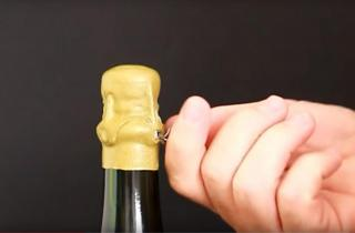 Waxing and opening a champagne bottle