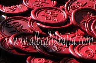 Red sealing wax medallions