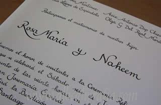 Calligraphy for wedding invitation