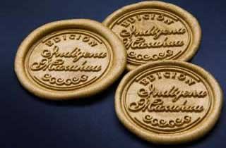 Gold sealing wax medallions