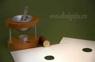 Personal sealing wax set and envelopes sealed in green