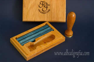 Sealing wax set with FGF monogram and blue sealing wax