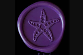 Purple wax sticker with starfish