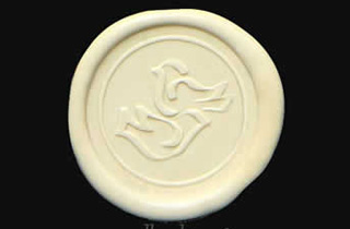 Ivory sealing wax sticker with doves seal