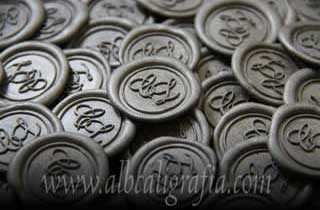 Silver sealing wax medallions with CL initials
