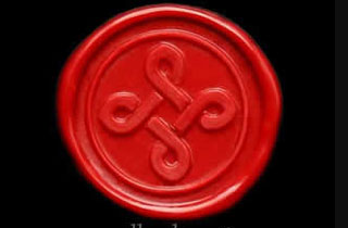 Red sealing wax sticker stamped with braided cross