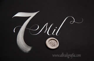 Black background with number 7 and Thousand word written in silver, silver sealing wax medallion