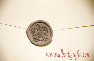 Silver sealing wax with coat of arms
