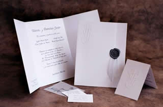 Wedding nvitation with gray sealing wax