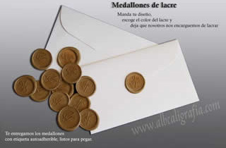 Envelope with several gold sealing wax medallions and  explanation of the sealing wax medallions applications.