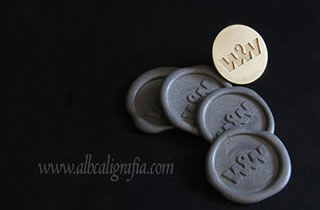 Sealing wax stickers in silver color and metal plate