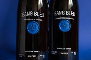 2 bottles of wine SAN BLEU decorated with a sticker of blue sealing wax