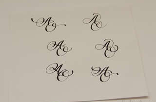 Sheet of paper with several samples of handwriting monogram AO