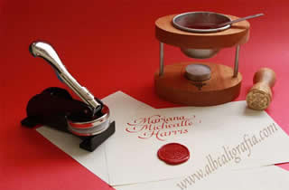 Set for personalized documents: sealing wax, persoanl sealer, seal with special design and punch.