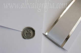 Wedding invitation with silver wax