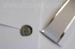 Wedding invitation with silver wax