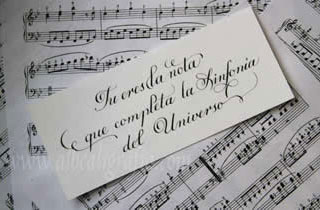 Calligraphic text You are the note that complete the symphony of the universe